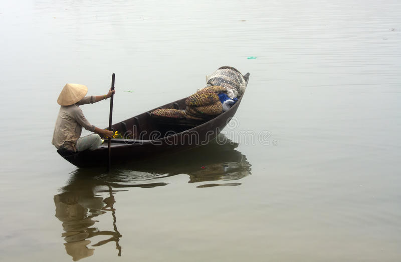 Traditional boat, Hoi An, Vietnam royalty free stock photos
