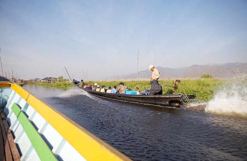 Traditional boat on the Inle Lake royalty free stock image