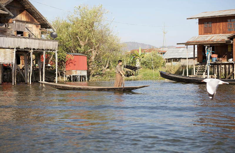 Traditional boat on the Inle Lake royalty free stock images