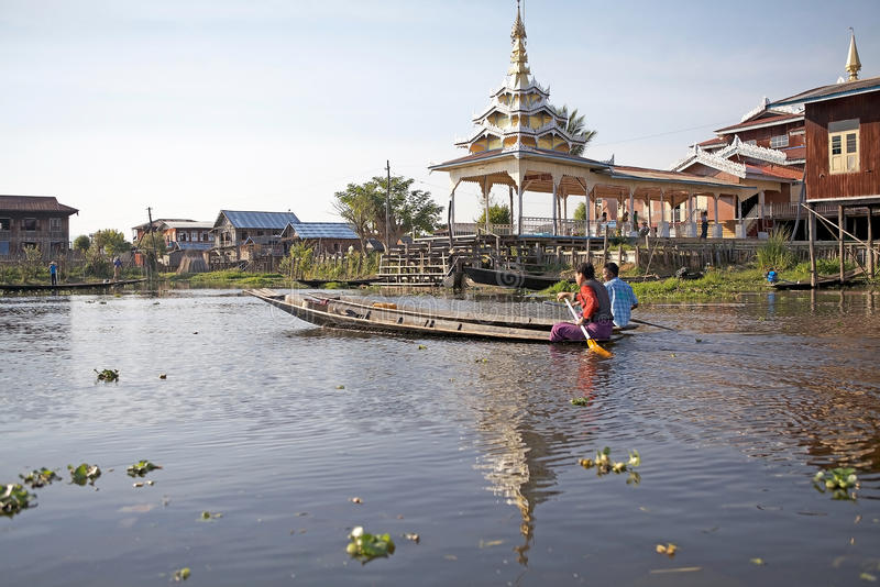 Traditional boat on the Inle Lake stock photography