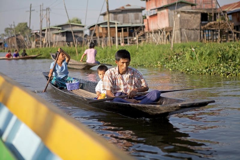 Traditional boat on the Lake Inle royalty free stock photos