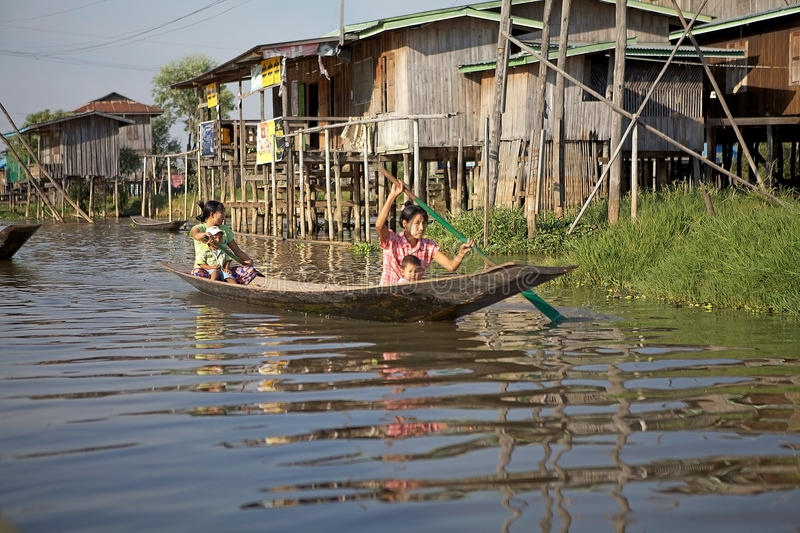 Traditional boat on the Lake Inle royalty free stock photography