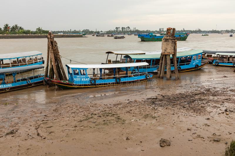 MY THO, VIETNAM - NOVEMBER 24, 2018: Traditional boat. Mekong River in My Tho city. Mekong Delta region of southern Vietnam royalty free stock photography