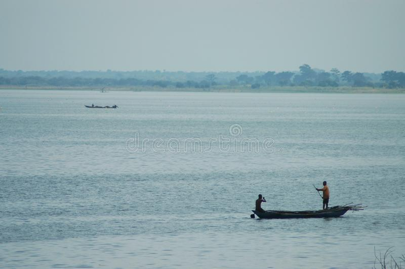 Traditional boat out on Lake Volta, Ghana royalty free stock image