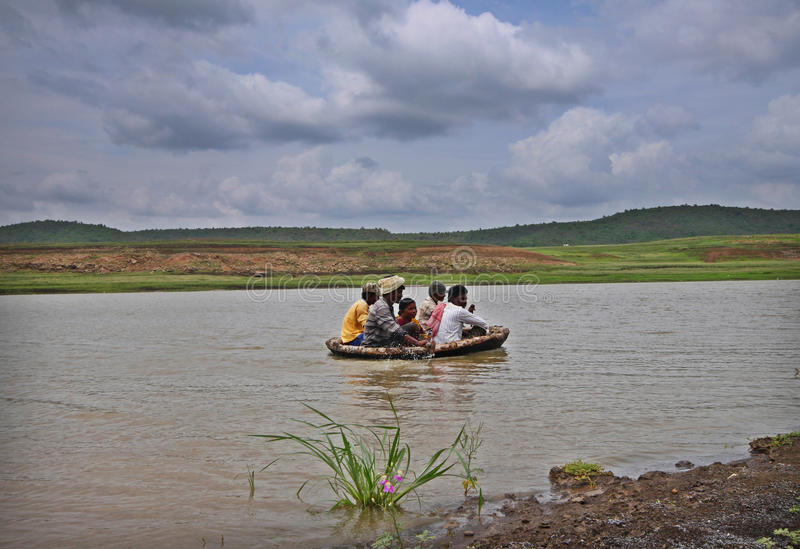 Traditional boat ride by locals of South India royalty free stock photo
