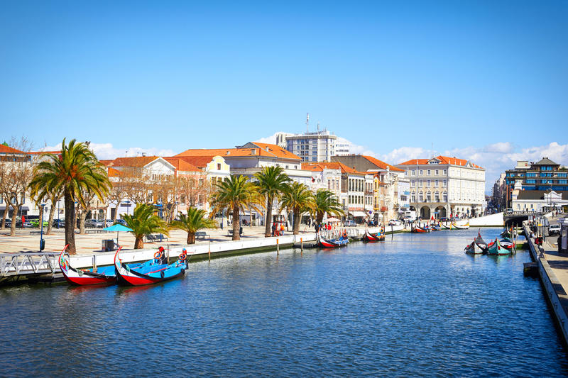 Traditional boats on the canal in Aveiro,. Portugal royalty free stock image