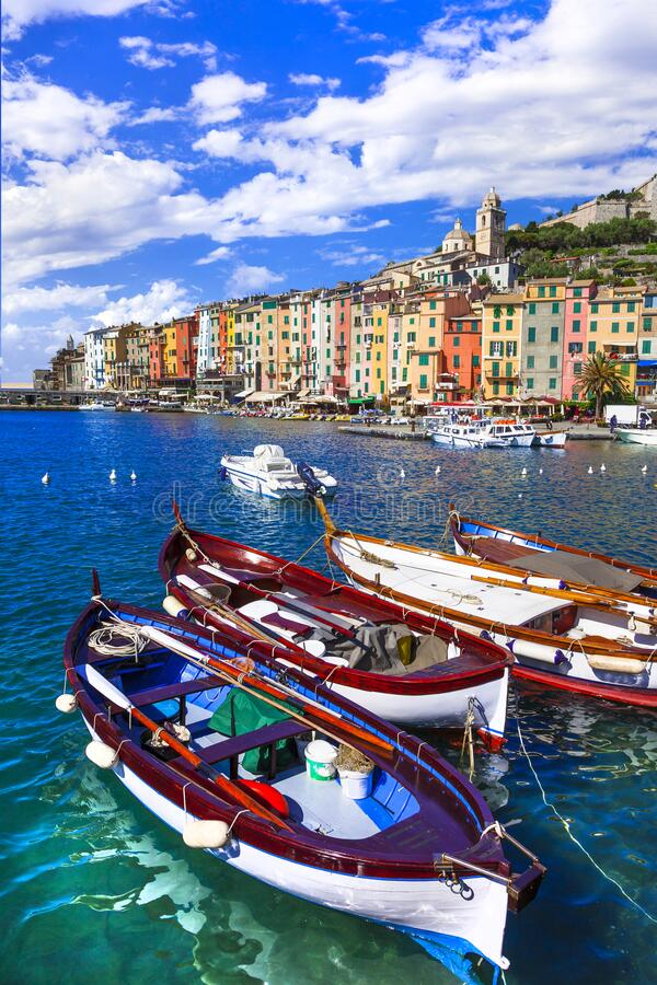 Traditional boats and colorful houses in Portovenere village,Cinque Terre,Liguria,Italy royalty free stock photo