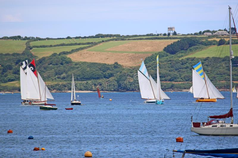 Boats on the River Fal. Traditional boats on the River Fal, Falmouth royalty free stock photos