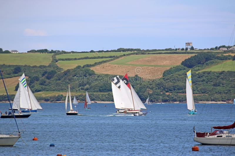 Boats on the River Fal. Traditional boats sailing on the River Fal, Falmouth stock photos