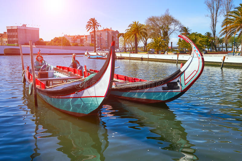 Traditional boats in Vouga river. Aveiro. Portugal stock photography