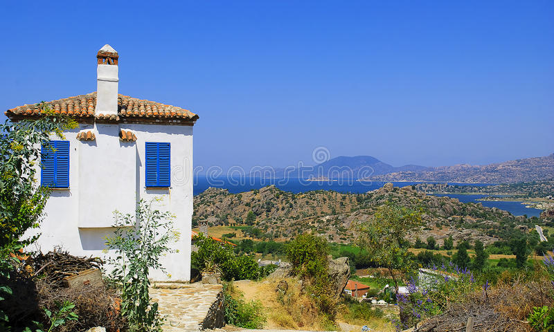 A traditional bodrum house with sea scene royalty free stock photo