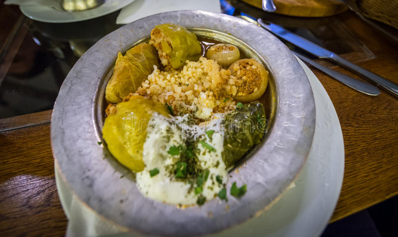 Traditional Bosnian food. Traditional dish called Sarma served in restaurant in Sarajevo city royalty free stock photography
