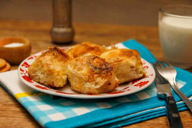 Traditional Bosnian pastry- manti borek stock photography