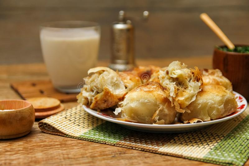 Traditional Bosnian pastry- manti borek stock photos