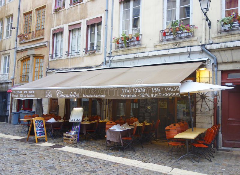 traditional bouchon restaurant in vieux lyon france editorial stock photo image 37694173. Black Bedroom Furniture Sets. Home Design Ideas