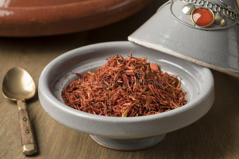 Traditional bowl with Moroccan saffron royalty free stock image