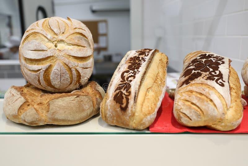 Bread specialty. Traditional bread specialty bakery ciabata pave ornamente oltenesti romania stock images