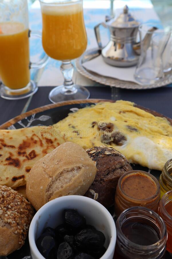 Traditional breakfast in Morocco, variety and delicious stock photo
