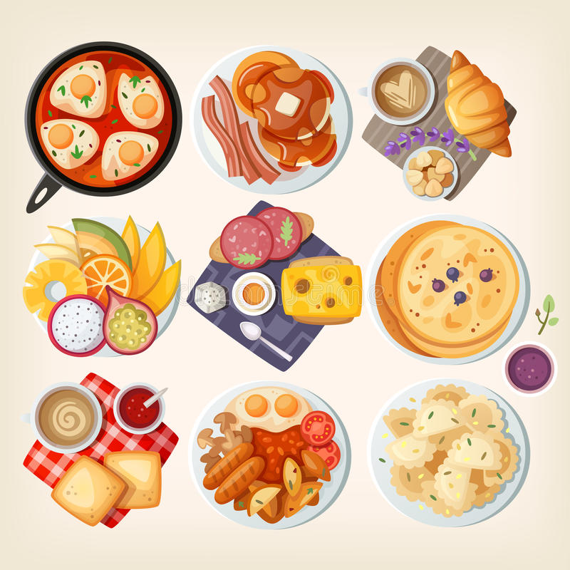 Traditional breakfasts all over the world. stock illustration