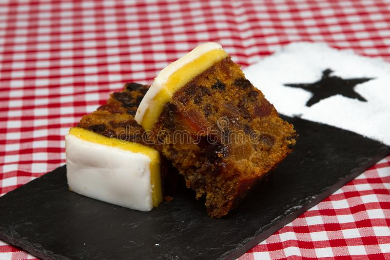 Traditional British Birthday Or Christmas Fruit Cake Stock Image
