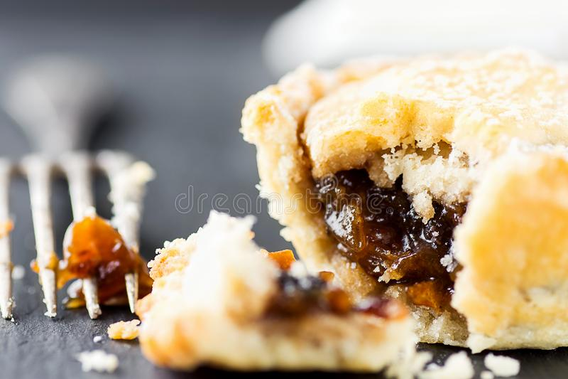 Traditional British Christmas Pastry Dessert Home Baked Mince Pie with Apple Raisins Nuts Filling. Open with Visible Filling. Traditional British Christmas stock photos