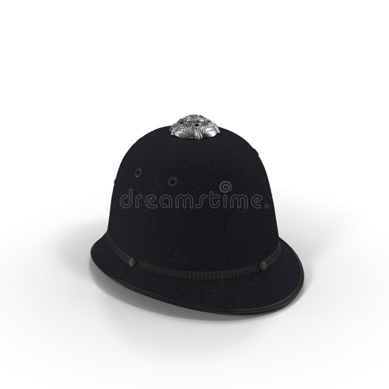 Traditional british police helmet isolated on white. 3D illustration stock illustration