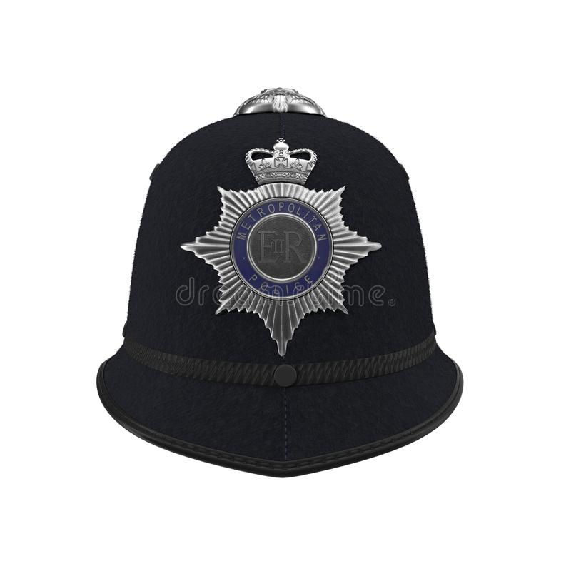 Traditional british police helmet isolated on white. Front view. 3D illustration royalty free illustration