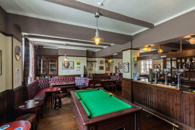 Traditional British pub interior stock photos