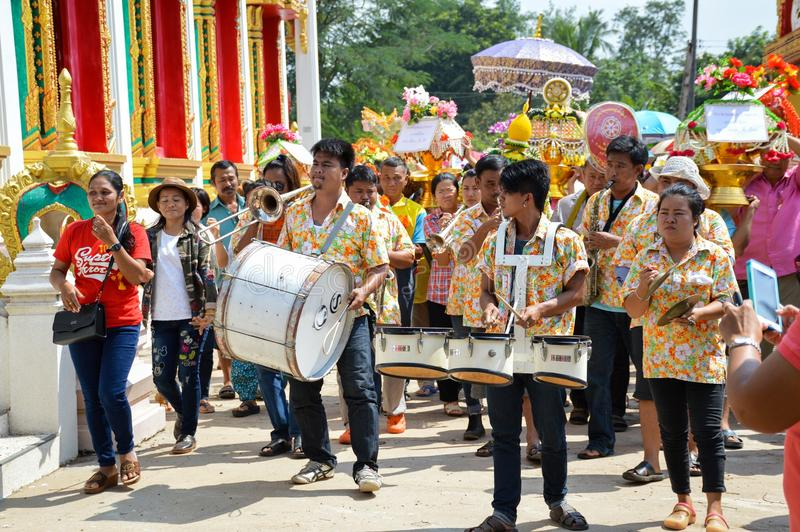 A traditional Buddhist ceremony, Kathin, held at Wat Lum MAHACHAI , Chachoengsao, Thailand on the 15 November, 2015 stock photo