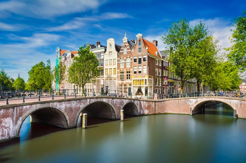 Traditional buildings in Amsterdam, Netherlands stock photography