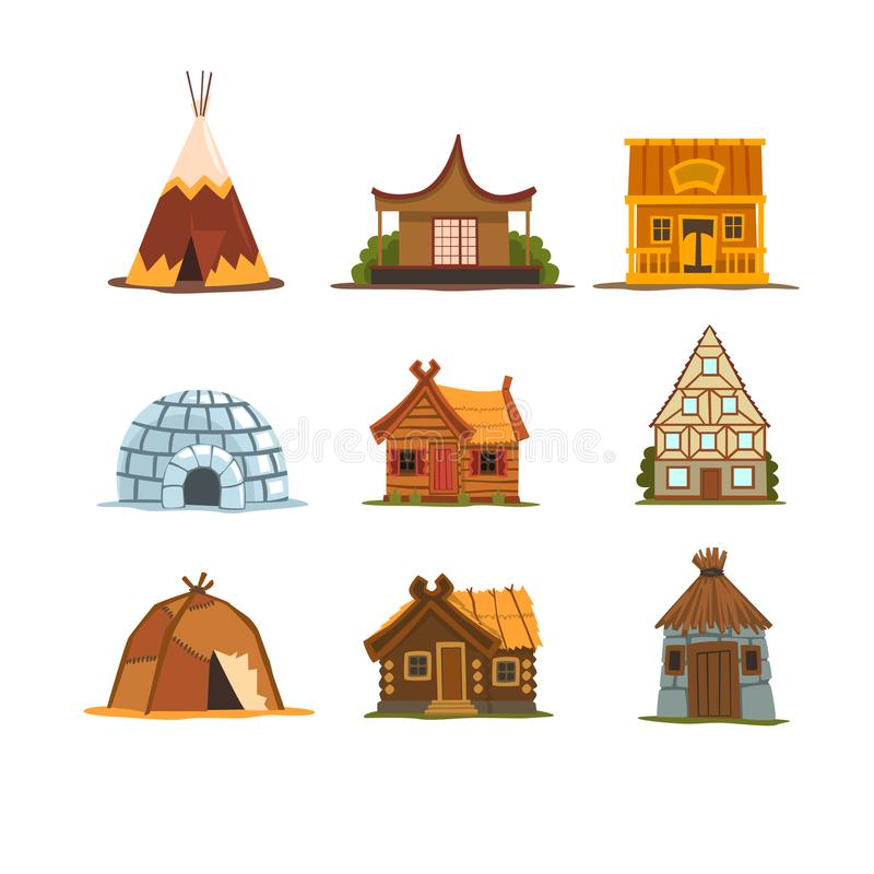 Traditional buildings of different countries set, houses from around the world vector Illustrations on a white stock illustration