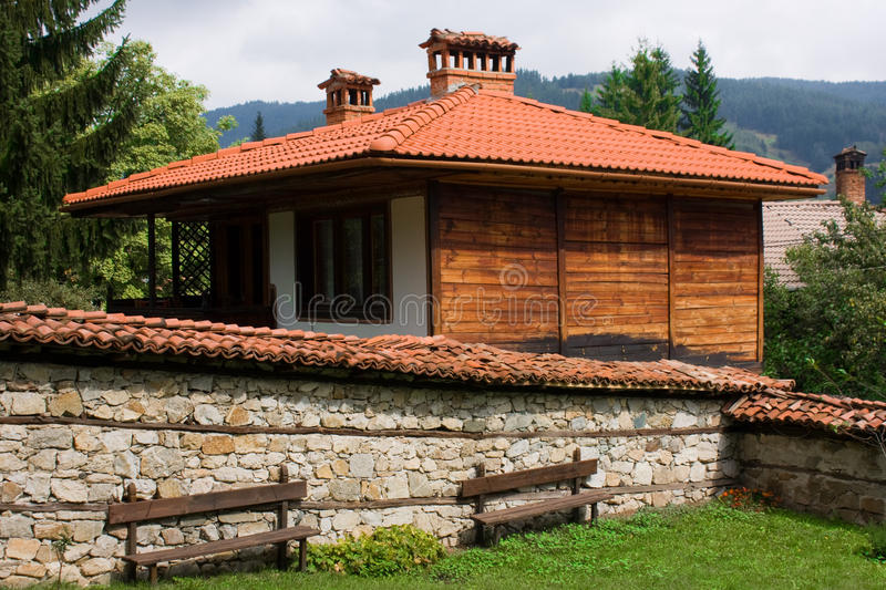 Traditional Bulgarian architecture. Traditional Bulgarian houses. Town of Koprivshtitsa depicted here. This image is taken with CPL Filter stock photography