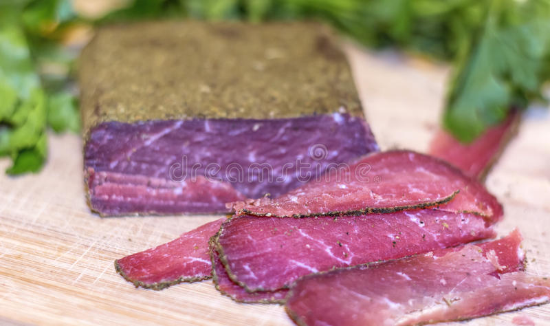 Traditional bulgarian dried beef pastarma stock photography