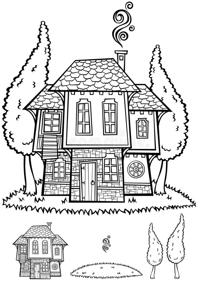 Traditional Bulgarian House Line Art royalty free stock images