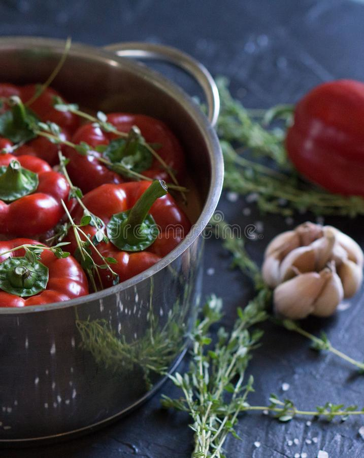 Traditional Bulgarian or Hungarian food: paprika stuffed with meat stock photography