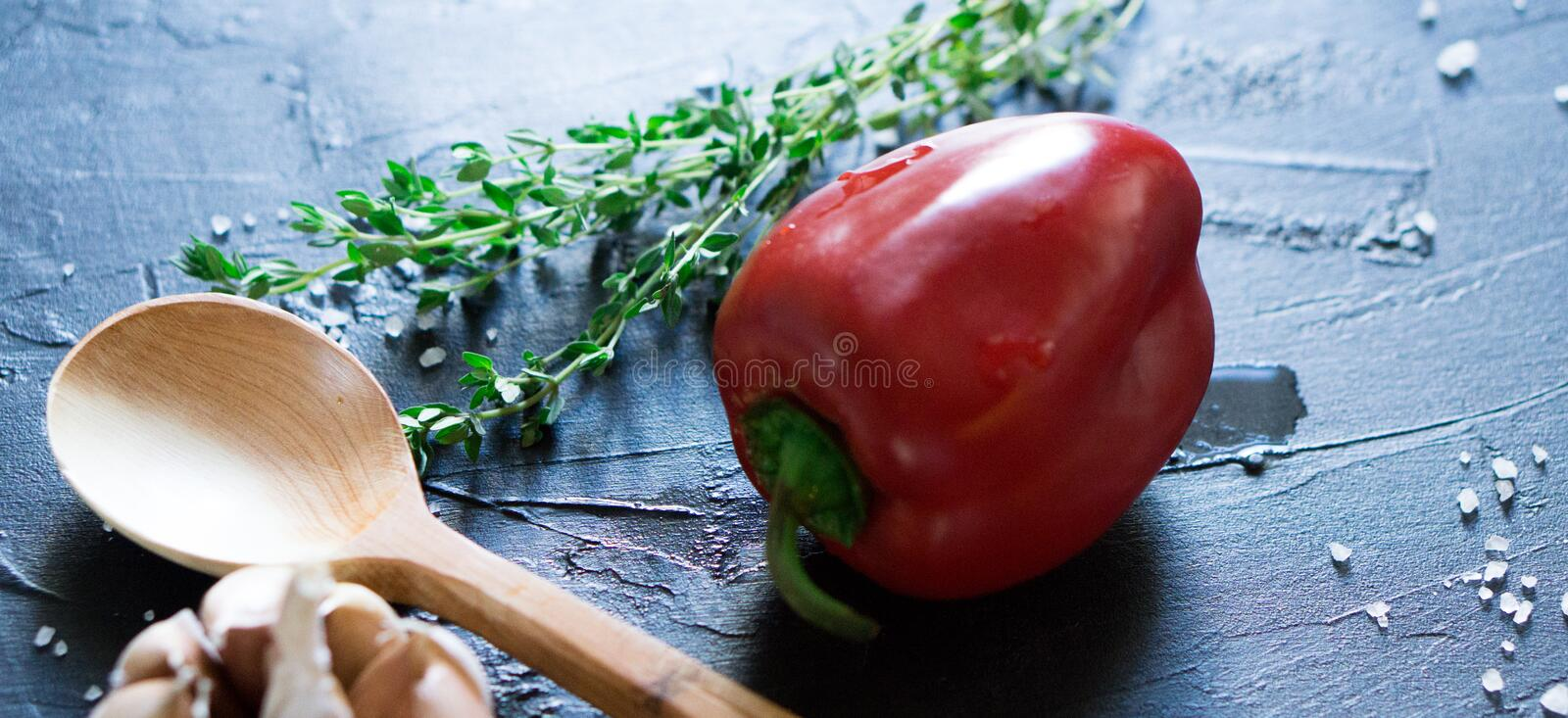 Traditional Bulgarian or Hungarian food: paprika stuffed with meat royalty free stock images