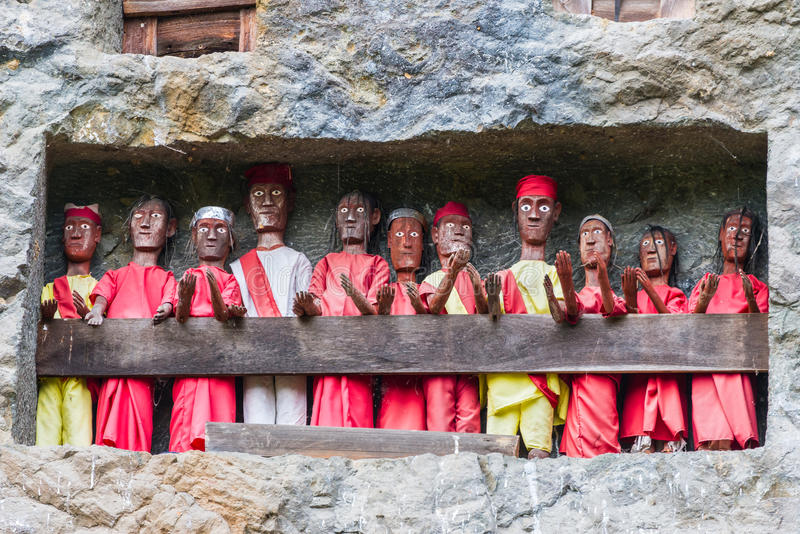 Traditional burial site in Tana Toraja royalty free stock photography