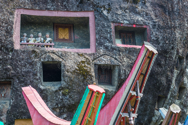Traditional burial site in Tana Toraja, Sulawesi, Indonesia stock photos
