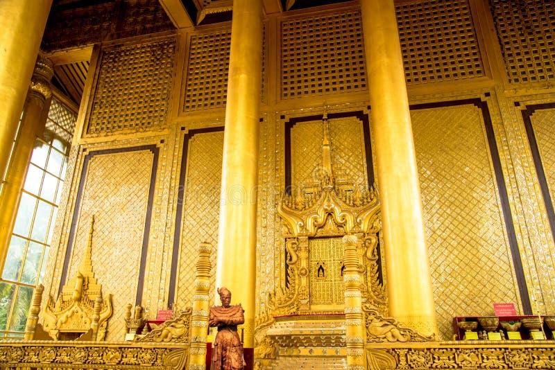 Traditional Burmese Interiors in Kanbawzathadi Palace. Bago, Myanmar stock images