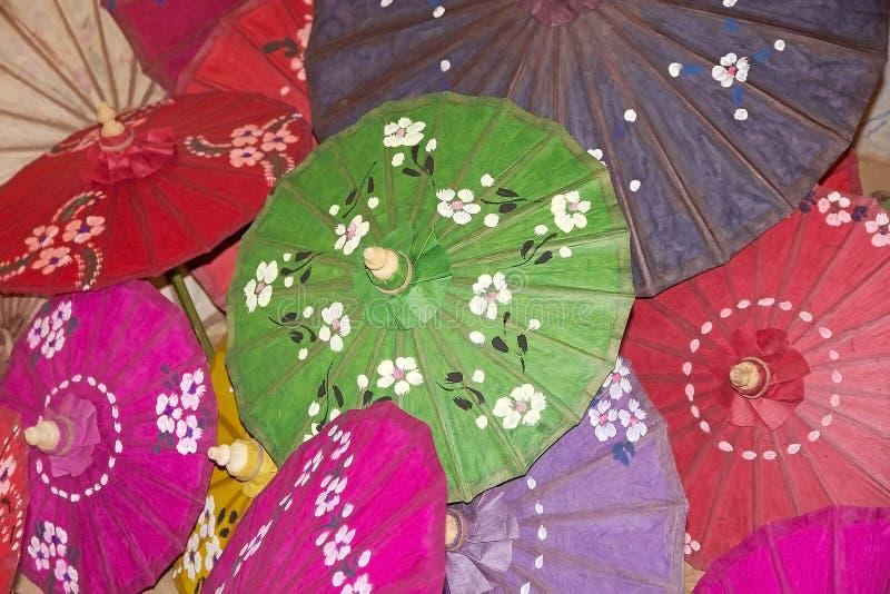 Traditional Burmese parasol. At the Pindaya workshop, Myanmar or Burma. In Burmese tradition the parasol is a symbol of high honor in Myanmar monastic life stock image