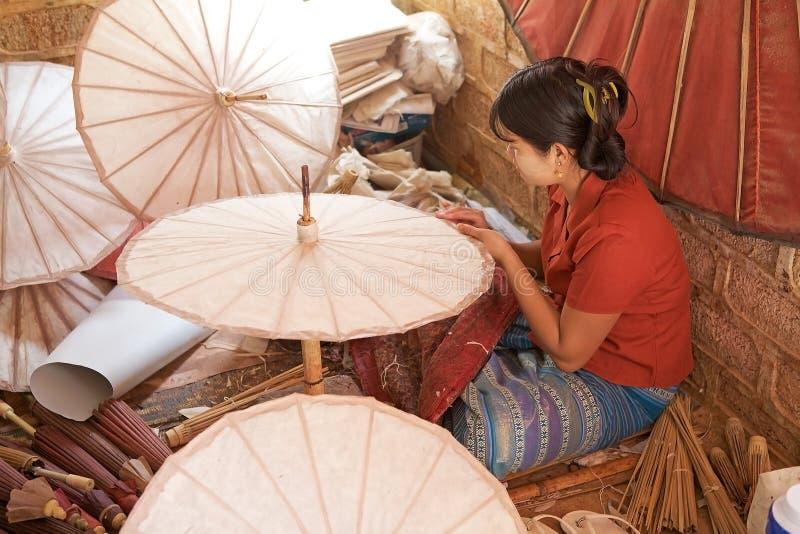 Traditional Burmese parasol stock photos