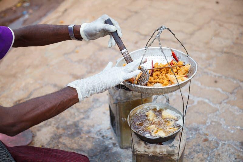 Traditional Burmese street food cuisine, crispy crunchy deep fried garlic wheat flour stuffed with tapioca. Appetizer, Gourmet, stock image