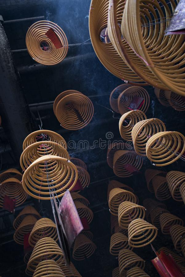 Traditional  burning incense coils inside chinese a-ma temple in macau royalty free stock image