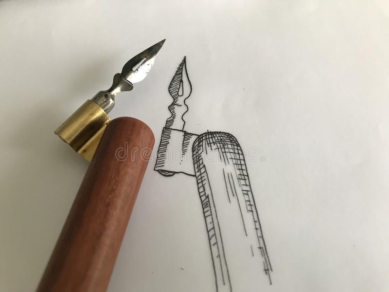 Traditional Calligraphy Oblique Pen Drawing Sketch royalty free stock image