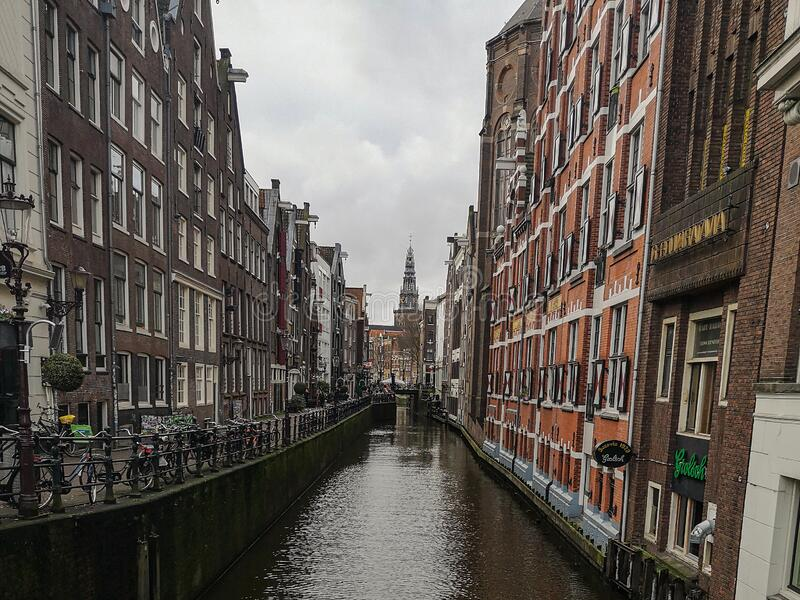 Traditional canal buildings architecture view of Amsterdam city center, holland royalty free stock photos