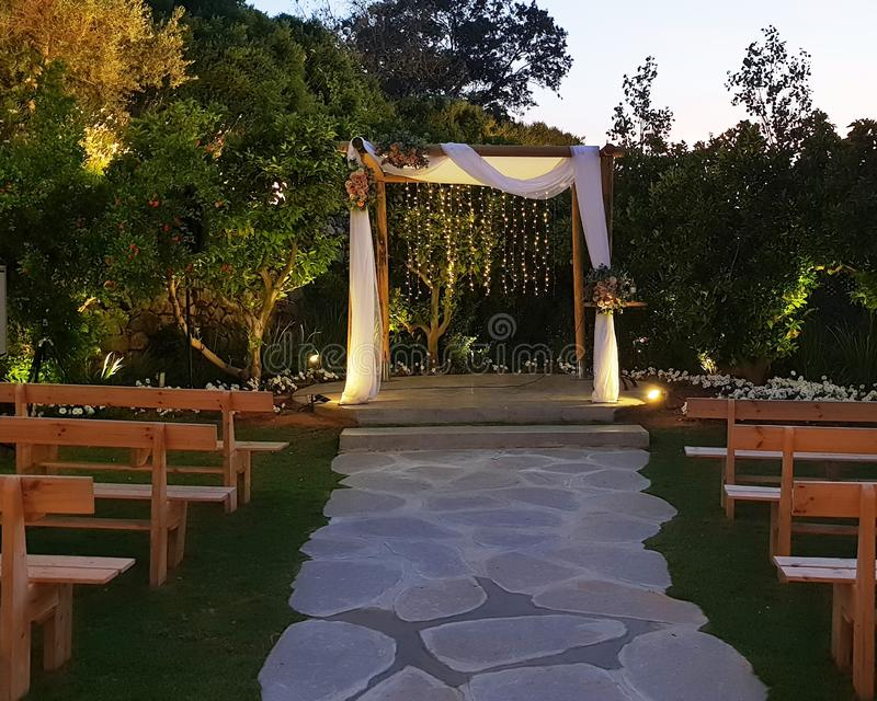 Traditional canopy сhuppah for jewish wedding ceremony royalty free stock images