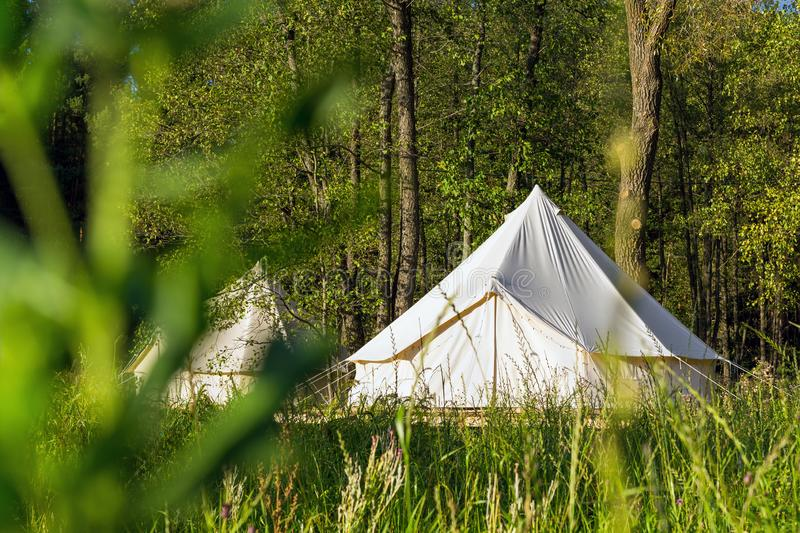 Traditional canvas bell tent outdoors in woods royalty free stock photos