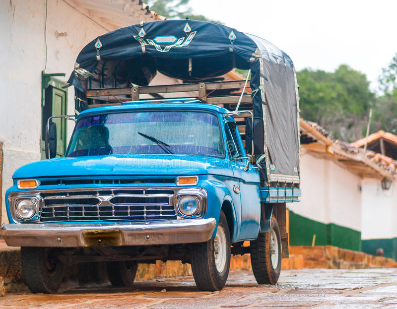Traditional car in Barichara - Colombia royalty free stock photo