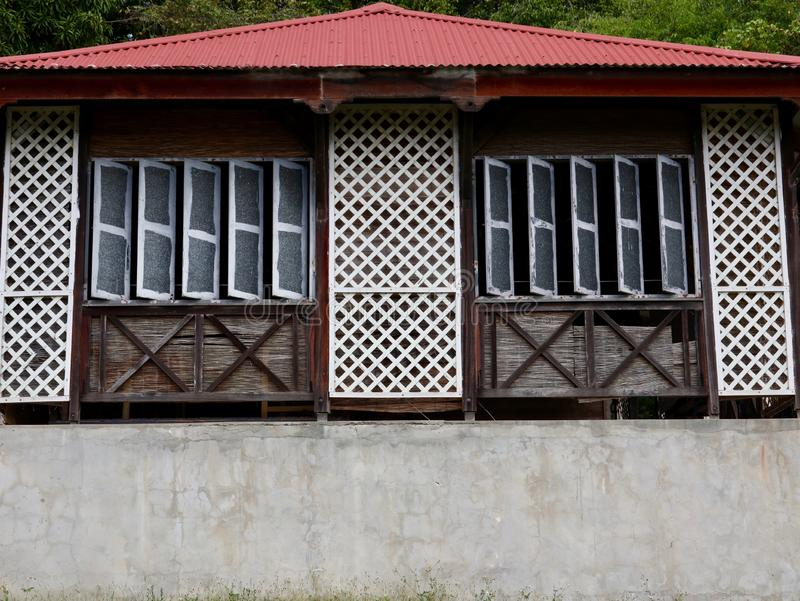 Traditional Caribbean Architecture Windows and Roof stock image