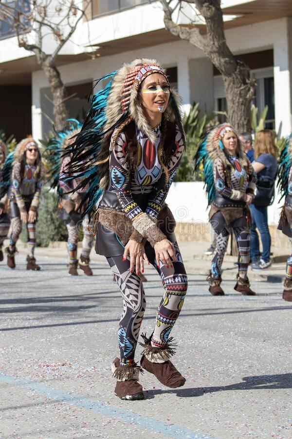 Traditional carnival in a Spanish town Palamos in Catalonia. Many people in costume and interesting make-up. 24. 02. 2020 Spain.  stock image